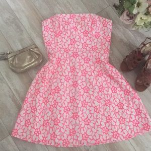 Lilly Pulitzer • EUC Pink Floral Strapless Dress